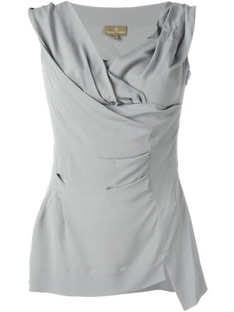blouse women draped silk grey top