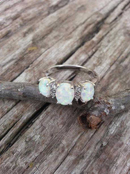 jewels vintage ring size 8 ring white gold ring 10kt ring gemstone ring opal vintage