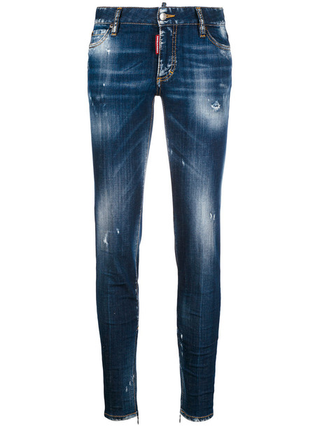 Dsquared2 jeans skinny jeans super skinny jeans women spandex leather cotton blue