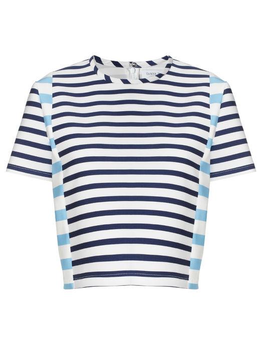 Blue Stripe Scuba Bora Top | Tanya Taylor | Avenue32