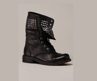 shoes black boots leather boots military boots studded shoes lace up boots combat boots grunge boots military style combat studded