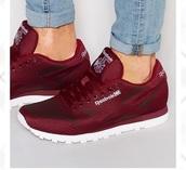 shoes,Reebok,wine red,burgundy sneakers,low top sneakers