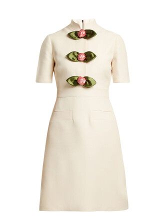 dress rose high embellished wool