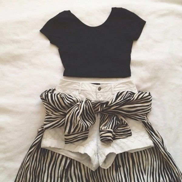 t-shirt shorts blouse skirt