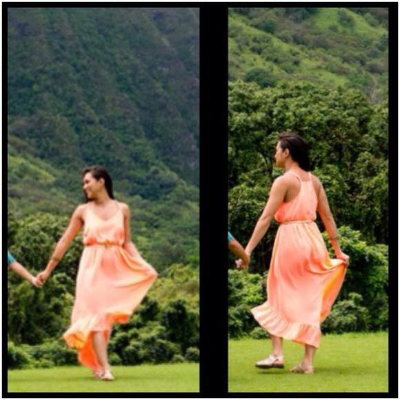 dress fashion cute dress orange summer dress maxi dress cute dresses trendy loose dress long dress flowy dress