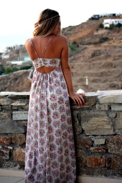Dress Summer Print Floral Cut Out Maxi Dress Maxi