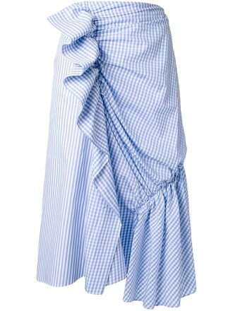 skirt draped skirt draped print blue