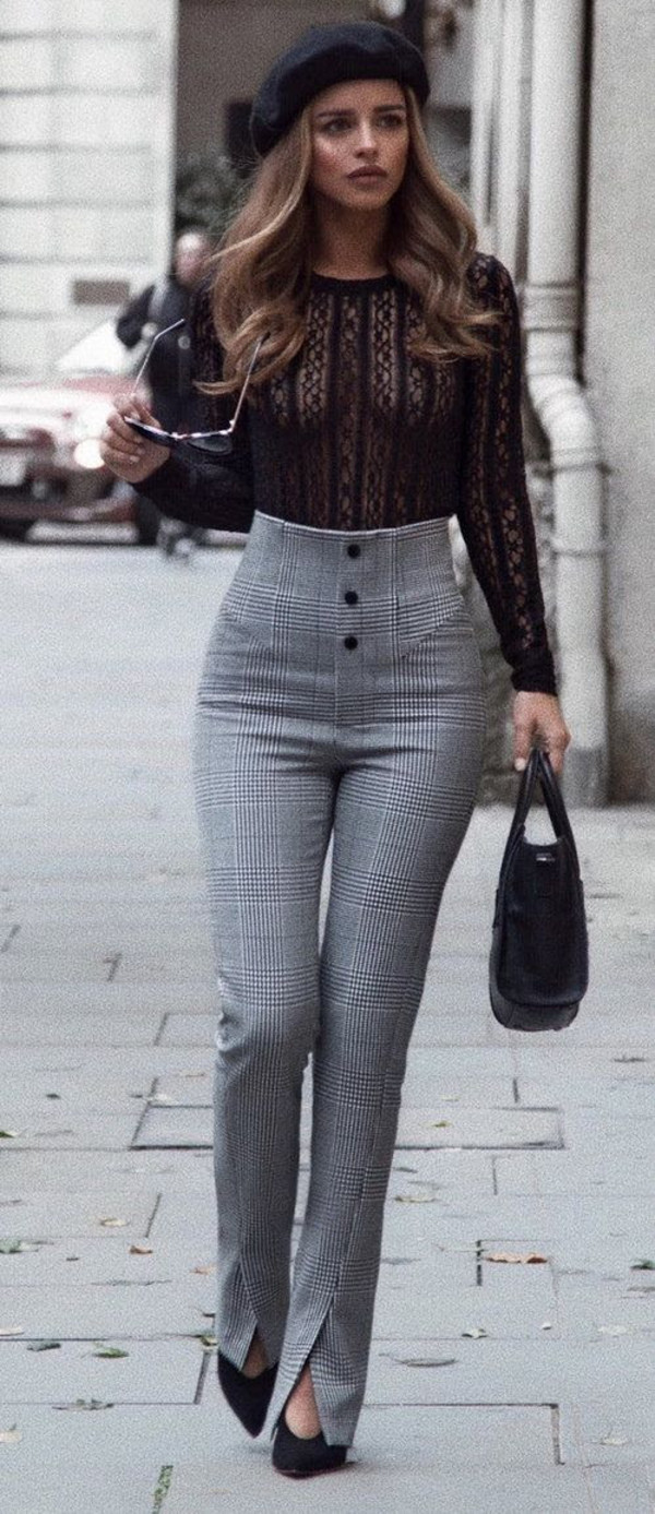 ZARA WOMAN BLACK WHITE CHECKED HIGH WAIST LEGGINGS PANTS REF. 7149 ... fa91579d22b