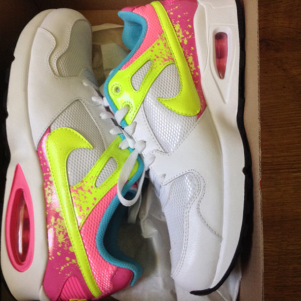 shoes air max nike running shoes neon white hipster nike yellow pink
