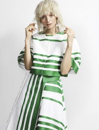 top ash walker model striped top crop tops white top skirt striped skirt blonde hair editorial earrings statement earrings