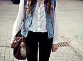 shirt,black leggings,white top,denim jacket,cute,pants,t-shirt,skinnyjeans,bag,blouse,jacket,jeans,vest,denim,leggings,chiffon blouse,chiffon,white,white chiffon,studded denim,white sneakers,blue,girl,2015,2014,girl and closet,brow bag,veste en jean hollister