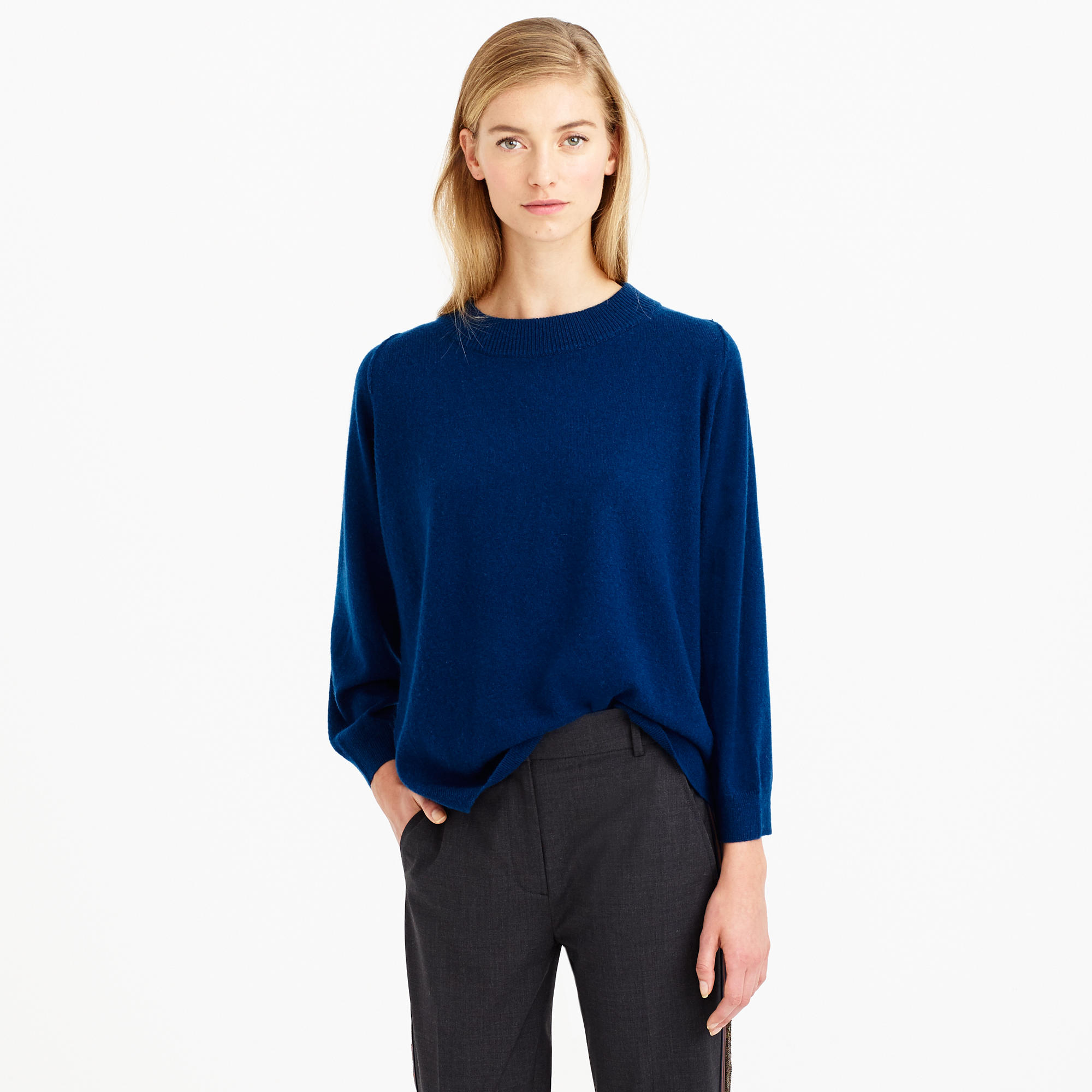 Dolman sweater with rib trim