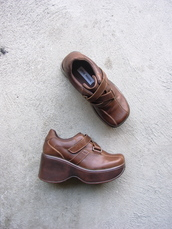 shoes,steve madden,brown,platform shoes,platform sneakers,wedge sneakers,brown shoes,vintage,etsy