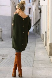 sweater,knitted sweater,dress,loose dress,shoes,knee high boots,green sweater,button down sweater,oversized sweater,forest green,brown leather boots,cardigan,brown boots,brown shoes,brown booties