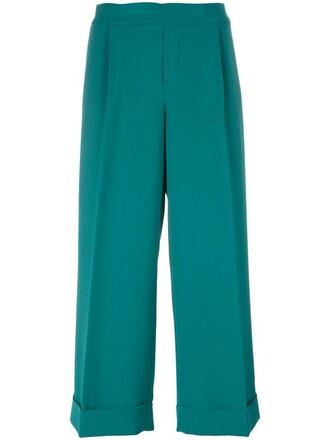 culottes women classic spandex blue pants