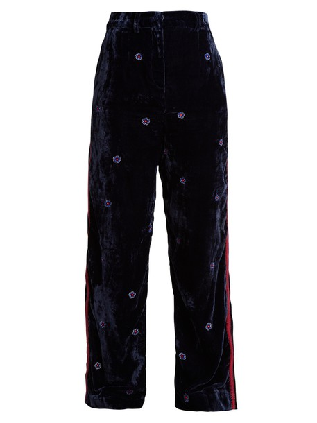 JUPE BY JACKIE silk velvet navy pants