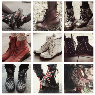 shoes drmartens dr marten boots union jack flowers
