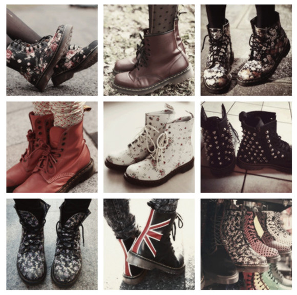 union jack shoes DrMartens dr marten boots flowers
