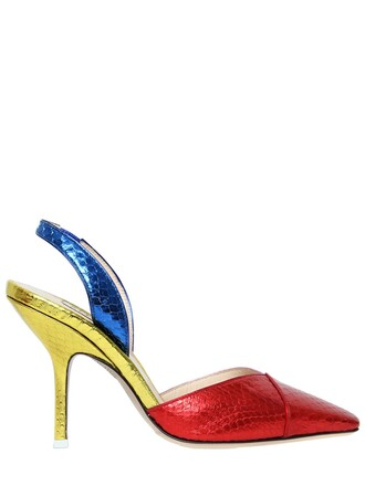 metallic pumps blue red shoes