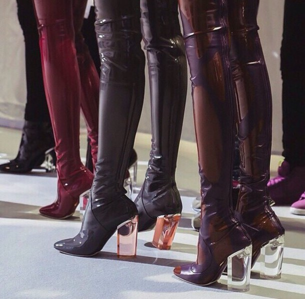Shoes: latex, burgundy, boots, heels, clear, clear heel, clear ...