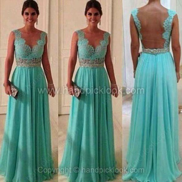 dress backless lace backless dress lace dress prom dress floor length dress formal dress turquoise turquoise dress mint mint green dress formal dresses