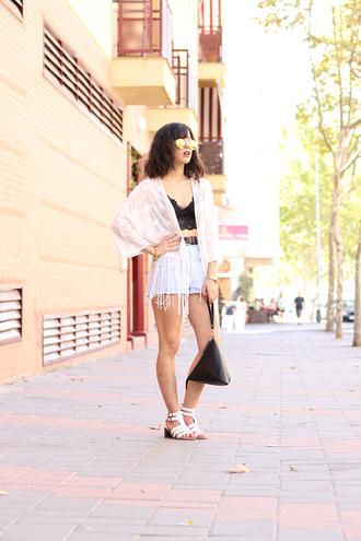 vintage shoes for her blogger sunglasses top bag jewels shoes kimono cardigan lace white boho bralette black