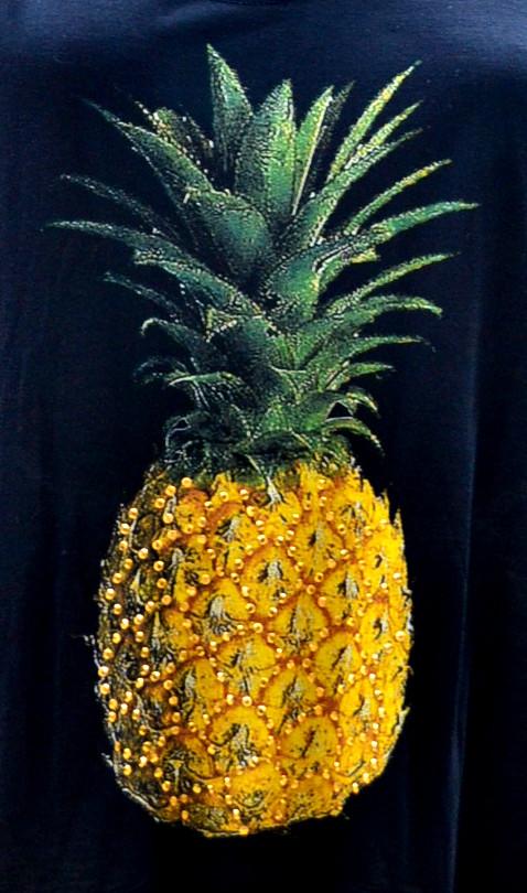 Tank Top Pineapple Studded Black