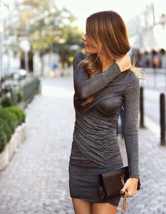 dress grey tight long sleeves mini dress formal