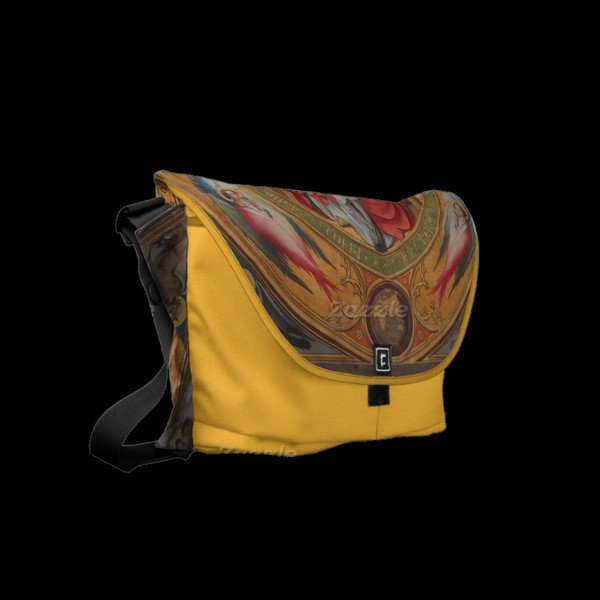 bag zazzle messenger bag yellow sacral religious painting fine art crucifix medieval Accessory