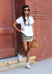 sincerely jules,t-shirt,skirt,shoes,jewels,bag,top,graphic tee,sequin skirt,brown bag,hat,black hat,sunglasses,watch,bracelets,white shoes,trainers,hi tops