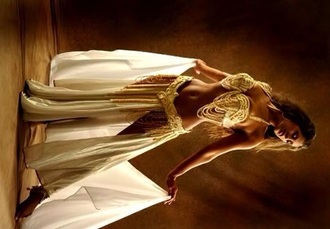 skirt belly dance top and bottom gold white