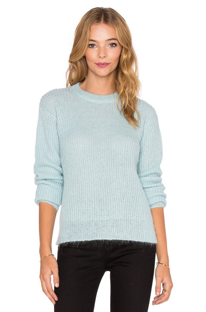T by Alexander Wang sweater crewneck sweater knit mohair turquoise
