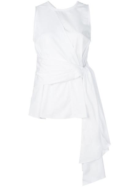 3.1 Phillip Lim - belted-waist tank top - women - Cotton - 2, White, Cotton