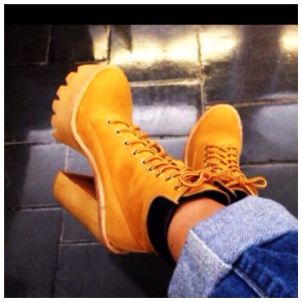 shoes timberlands gold heelsshoes