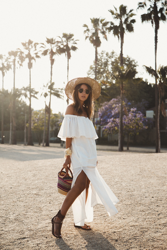 dress tumblr summer dress maxi dress slit dress white dress sandals flat sandals hat bag off the shoulder off the shoulder dress shoes vacation outfits holidays