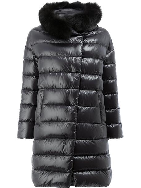Herno jacket puffer jacket fur fox women cotton black
