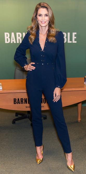 jumpsuit cindy crawford navy pumps pants blouse