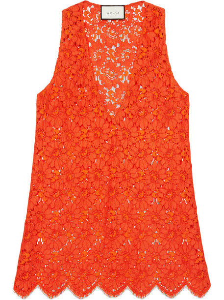 gucci top sleeveless top sleeveless women lace cotton yellow orange