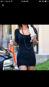 dress,black,bodycon,mini,sleeve,necklace,megan,fox,black dress