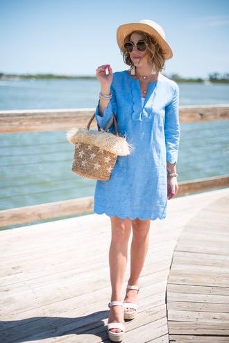 something delightful blogger hat bag shoes jewels sunglasses basket bag blue dress summer dress wedges summer outfits