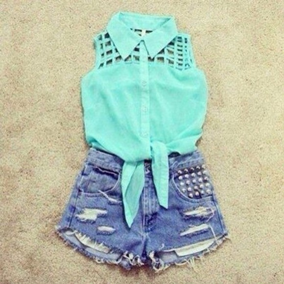 holes tank top teal ties in the front summer outfits summer shirt aqua collar studs
