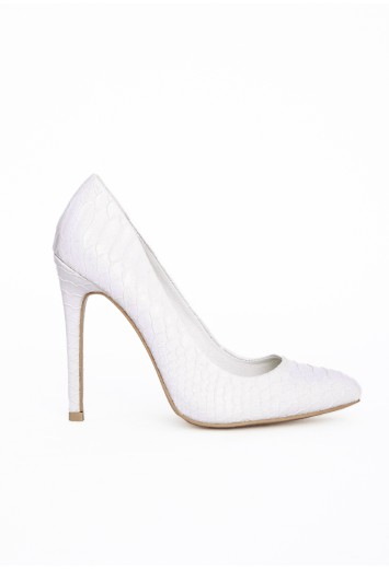Isabel pointed stiletto court heels white croc