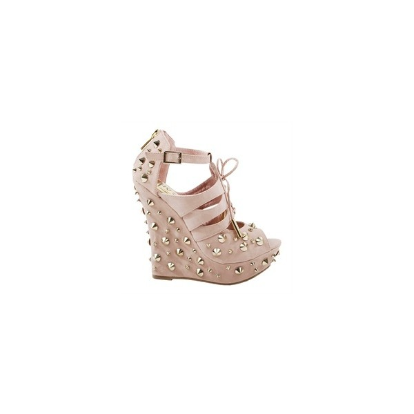 Posh M1062-20 Blush Spike Studs Wedge Heel Pumps and Womens... - Polyvore