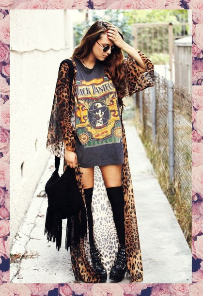 Cardigan: full length, clothes, fashion, maxi, leopard print ...