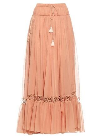 skirt maxi skirt maxi drawstring silk light pink light pink