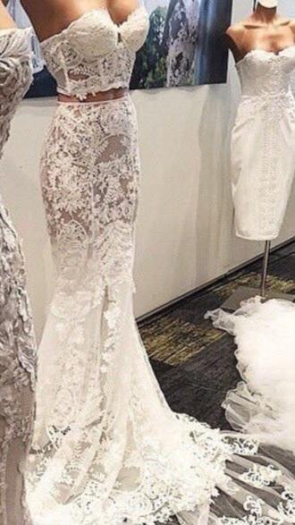 dress creme cream lace dress white lace dress long dress two piece dress set bustier lace cream lace