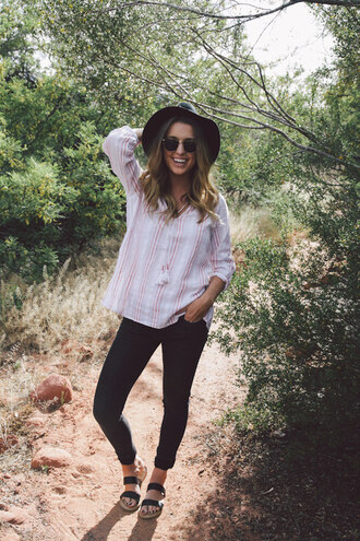 the day book blogger shoes jeans top hat sunglasses