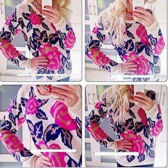 sweater black pullover beige o neck long sleeves knitted sweater casual dress flowers print coat pink flowers