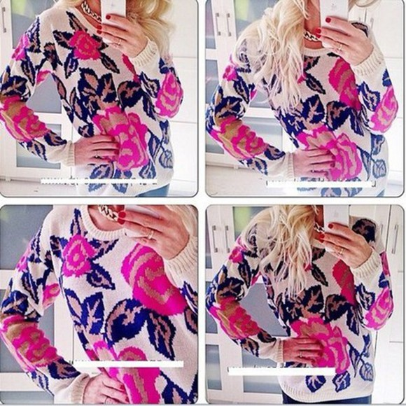 sweater pink flowers black long sleeves beige o neck pullover knitted sweater flowers print coat casual dress