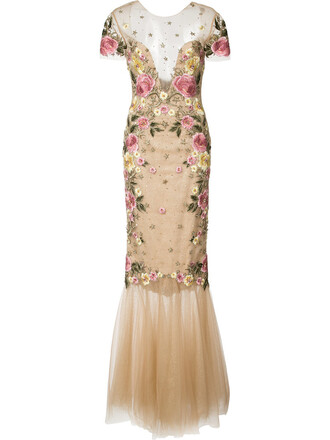 gown women floral nude dress